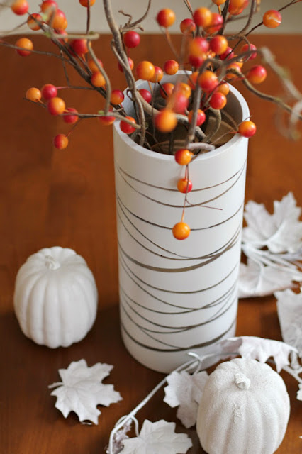 """birch bark"" vase - elastics & spray paint - Turtles and Tails blog"