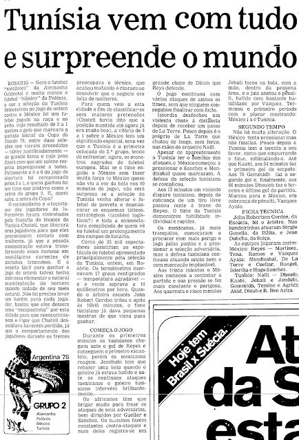 Folha de São Paulo Tunísia México 1978