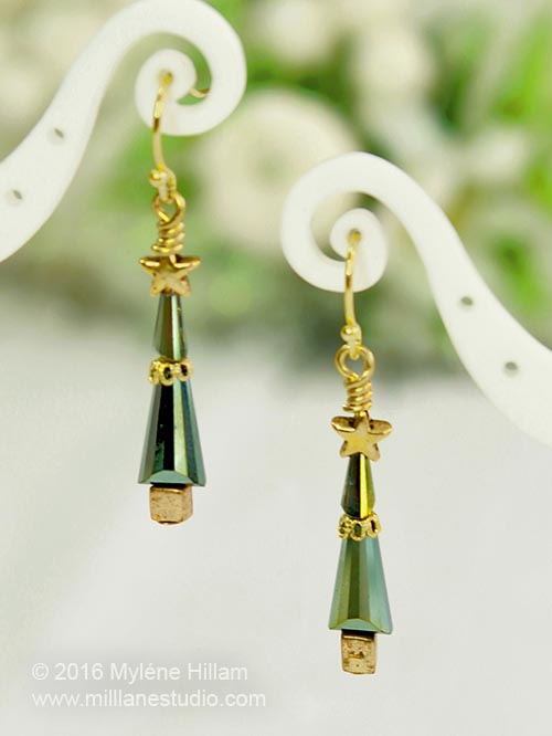 Tall slender Christmas tree earrings