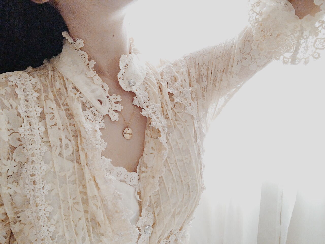 How to Wear a Gold Dainty Simple Necklace_Adrienne Nguyen_Casual Cream Lace Outfits