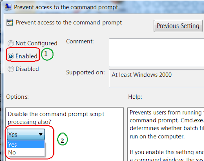 Prevent Access to Command prompt in Windows 7