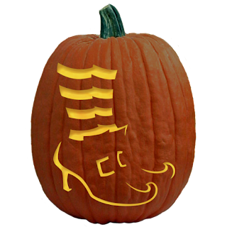 Carve with feet on pumpkin