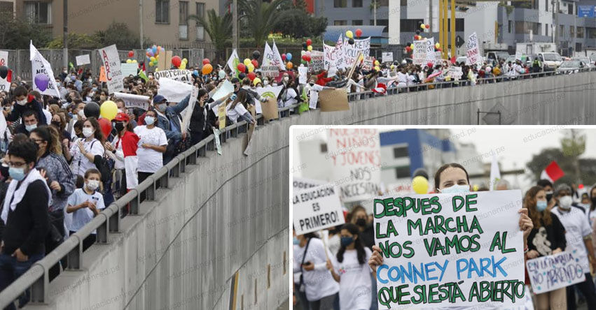 VOLVAMOS A CLASES PERÚ: Así fue la marcha de protesta frente al Ministerio de Educación [FOTOS]