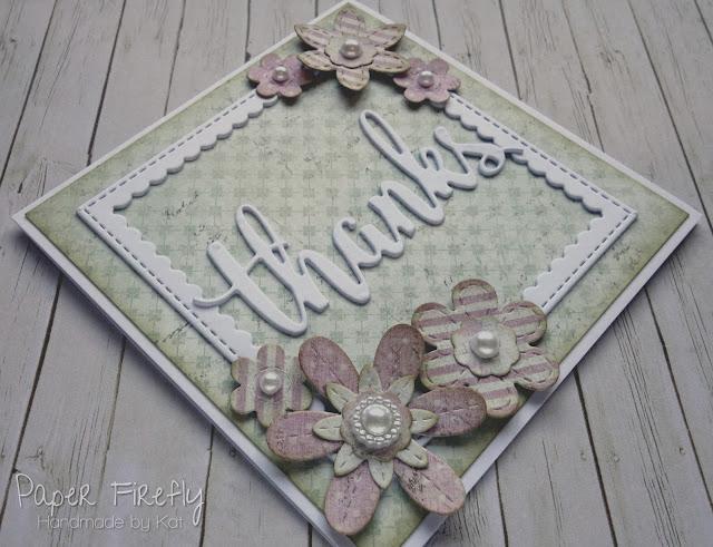 Vintage floral thank you card