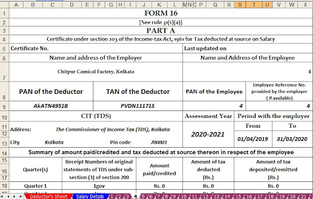 Automated Income Tax Form 16 for the A.Y.2020-21