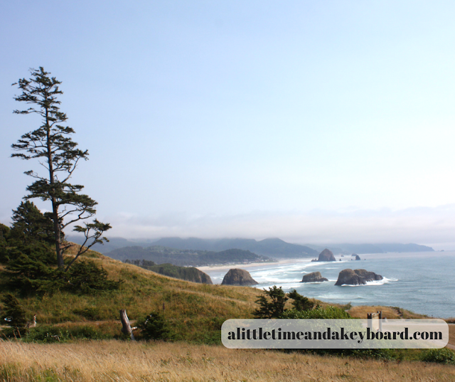 Stunning shoreline along the Oregon Coast on display from and overlook at Ecola State Park.