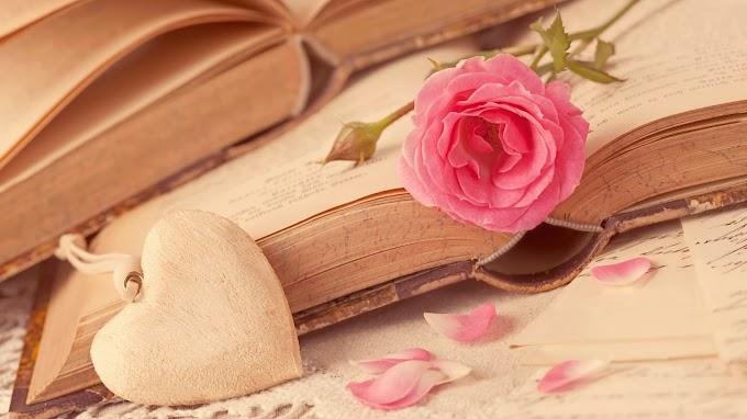 Flor Rosa e Livro Antigo