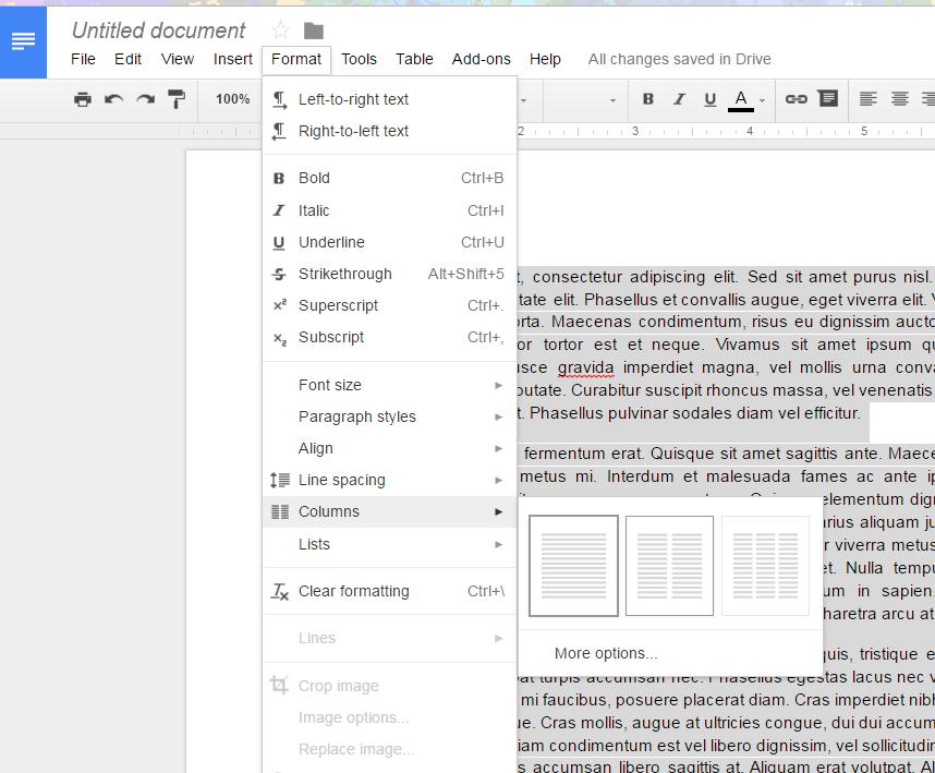 OurSchoolOnGoogle Google Docs Does Columns Finally - Google docs columns