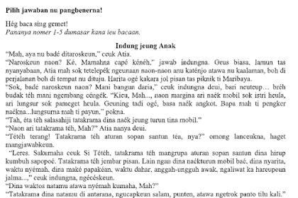 Soal UAS B. Sunda Kls 7, 8, 9 SMP Semester 1 K13 Tahun Pelajaran 2019/2020