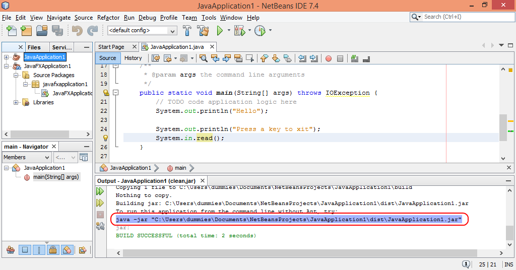Java-Buddy: Run Netbeans generated jar of Java program as stand