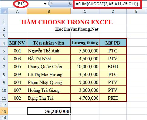 Sự kết hợp giữa hàm Sum và hàm Choose trong Excel