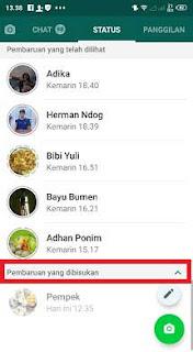 Cara Membisukan Status di Whatsapp Buatan Orang Lain di Hp Kita