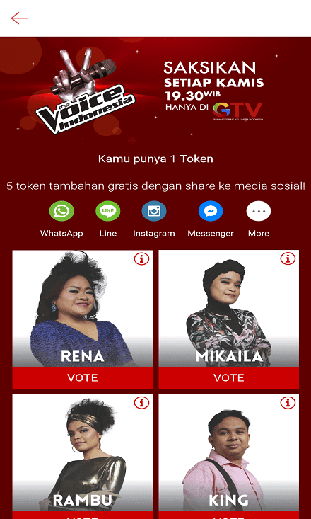 Vote Kontestan The Voice Indonesia di Shopee.