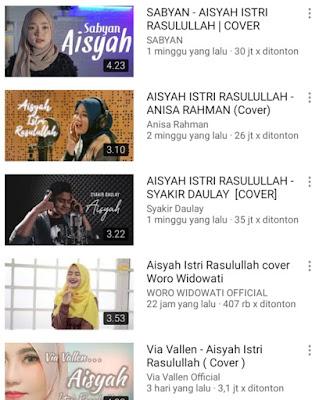 "Viral di Youtube lagu ""Aisyah Istri Rasulullah"""