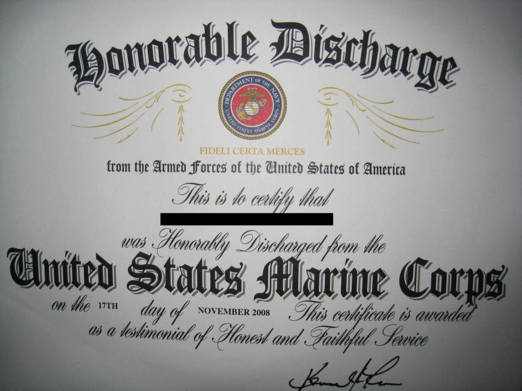 2011 Marine Corps Honorable Discharge Certificate