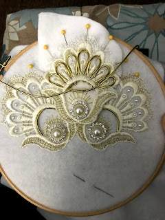 Mystic Magic, embroidery, lace, handmade, craft, Etsy, fashion, millinery, designer, couture fashion, london fashion, white, gold, sewing, diy headpiece, designer, Moulin Rouge,