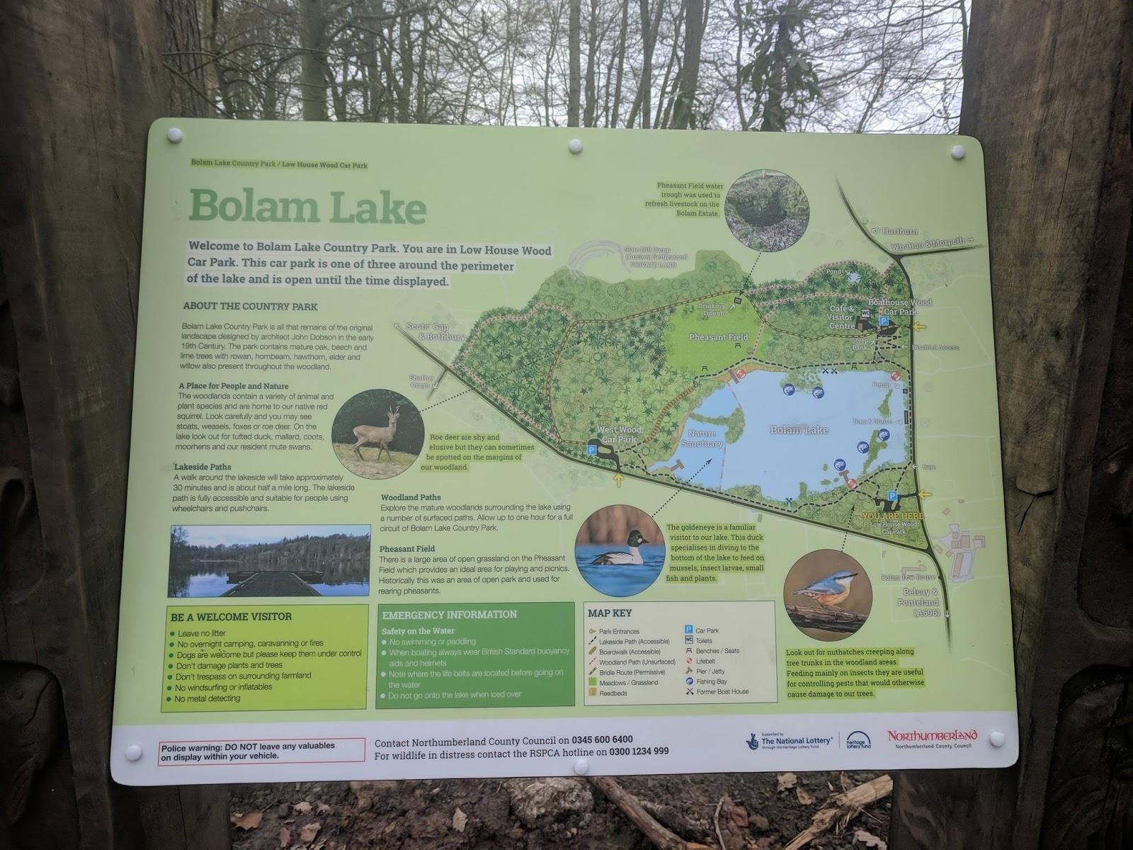A Guide to Visiting Bolam Lake, Northumberland  - bolam lake map