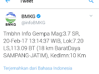 Gempa 3,7 SR Guncang Sampang Madura, Warga Panik