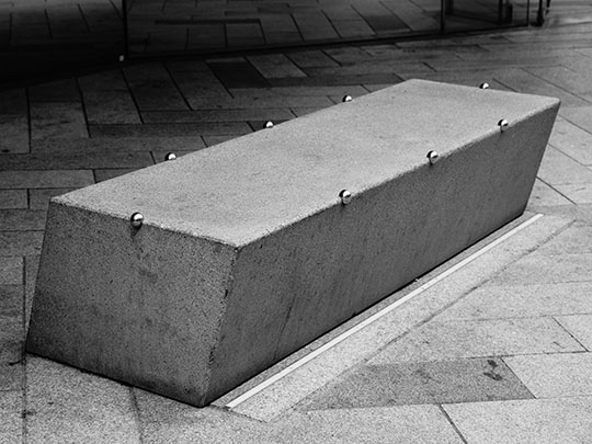 black and white photography, concrete, seating area, street furniture, Sam Freek,