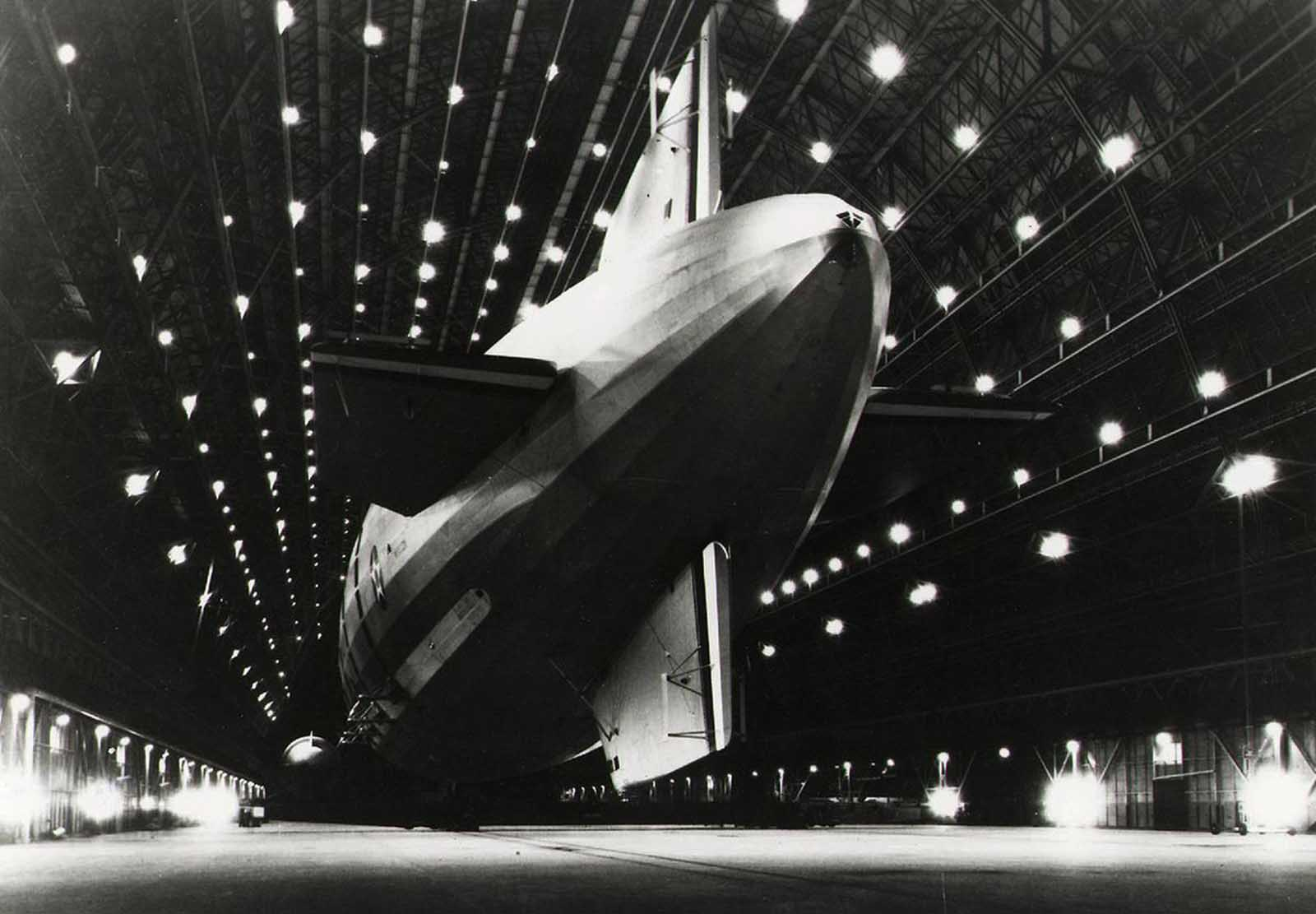 The airship USS Macon, moored at Hangar One at Moffett Federal Airfield near Mountain View, California.
