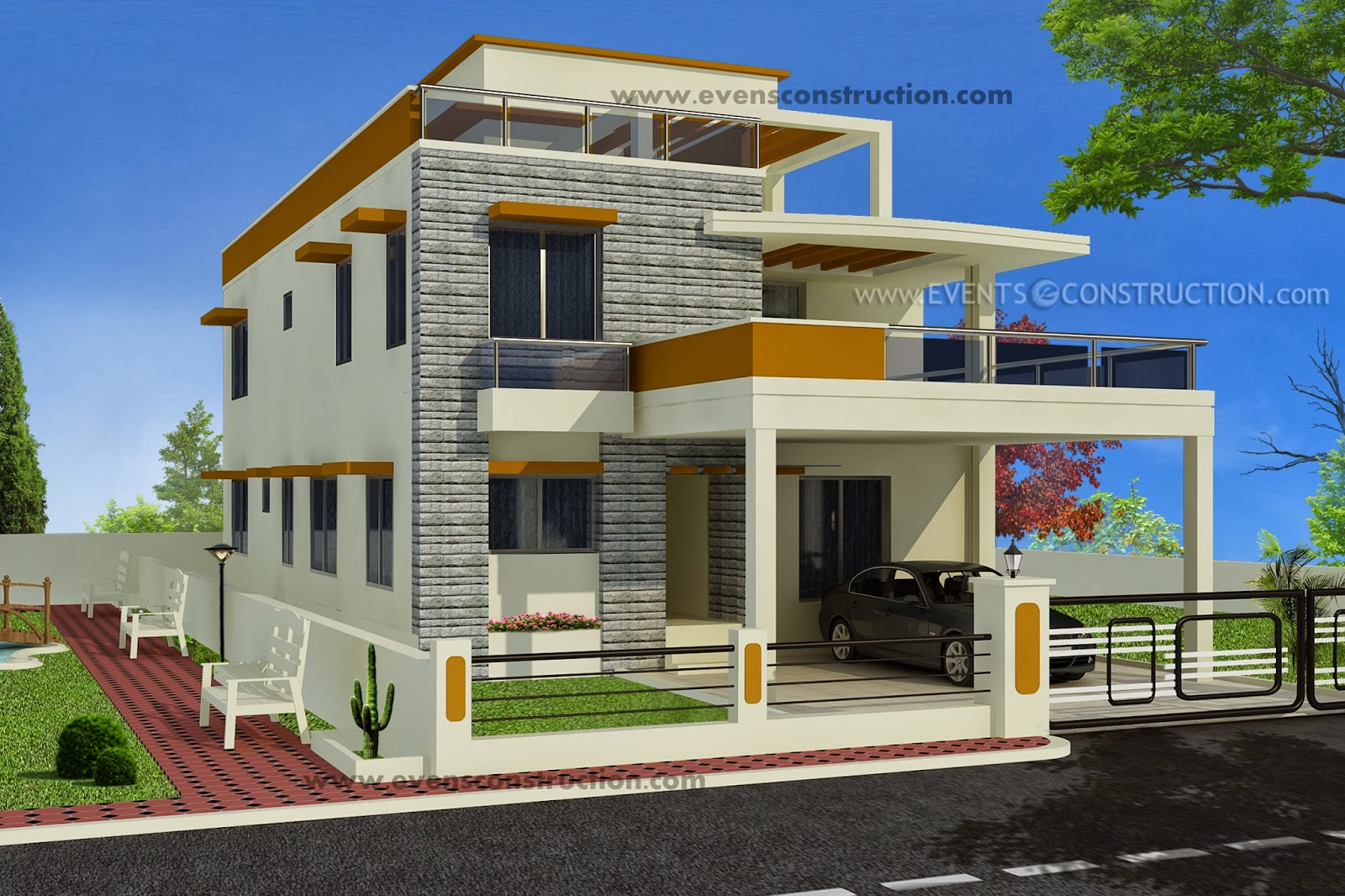Evens Construction Pvt Ltd Contemporary Flat Roof Villa