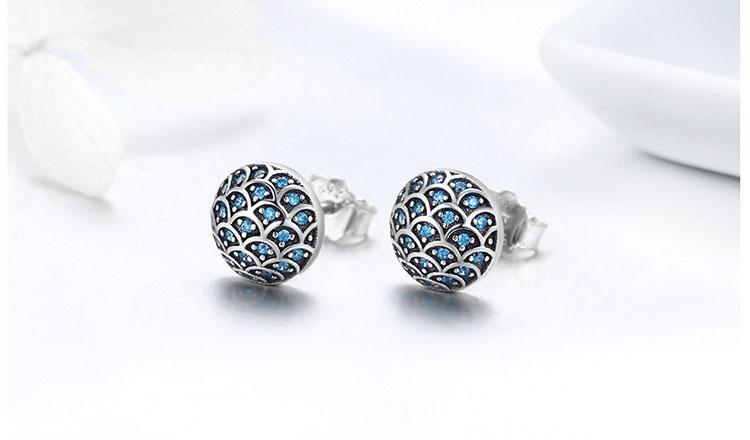 海洋之心 925純銀鋯石耳環