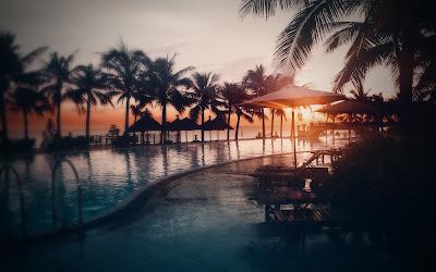 Piscina de un hotel son sol de fondo y palmeras