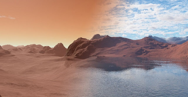 Image shows modern Mars (left) dry and barren, compared with the same scene over 3.5 billion years ago covered in water (right). The rocks of the surface were slowly reacting with the water, sequestering it into the Martian mantle leading to the dry, inhospitable scene shown on the left. Image credit: Jon Wade