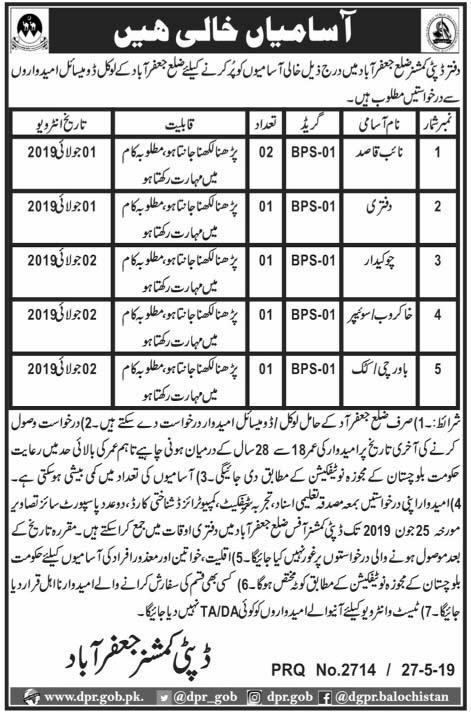 Advertisement for Deputy Commissioner Office Jaffarabad Jobs