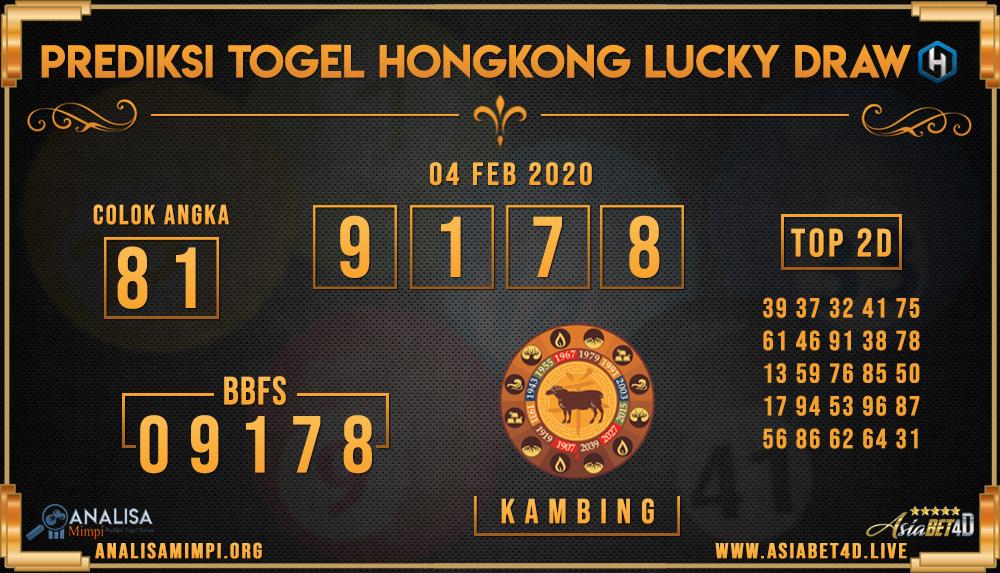 PREDIKSI TOGEL HONGKONG LUCKY DRAW SELASA 04 FEB 2020