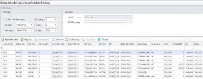 Bảng kê phí vận chuyển khách hàng phần mềm vận chuyển Logistics
