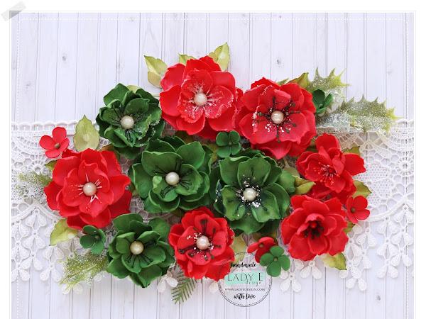 Red & Green Foamiran Flowers