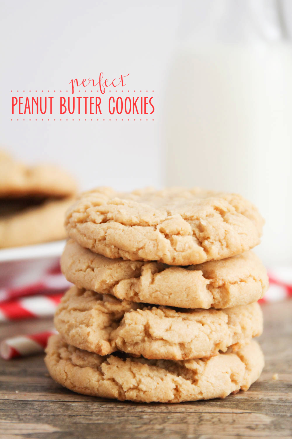 Perfect peanut butter cookies - crisp on the outside, soft and chewy on the inside, and incredibly delicious!