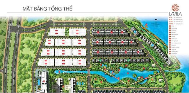 Mặt bằng dự án Lavila giai đoạn 2 trong tổng thể toàn khu dự án.