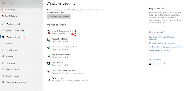 Masuk ke Menu Pengaturan Keamanan Windows Defender