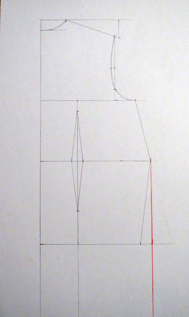 Línea para falda recta en el patrón base espalda