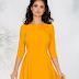 Rochie eleganta galbena cu aplicatii florale la decolteu ieftina de ocazii