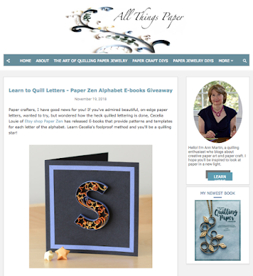 E-book Giveaway! Win a copy of Quilling Letters or Quilling Lowercase Letters