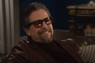 Hugh Grant as Fletcher Wearing Ray-Ban Sunglasses in The Gentlemen