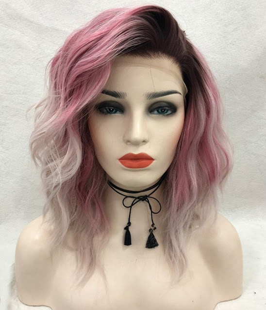 Cherry Blossom | Ombre Pink Shoulder Length Beach Wave Synthetic Lace Front Wig
