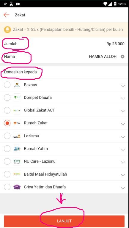 Formulir Pembayaran Zakat Melalui Marketplace Shopee.