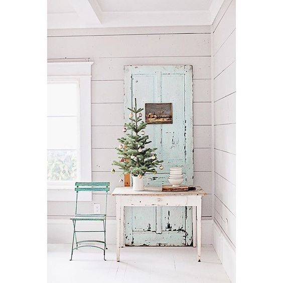 Dreamy Whites farmhouse table chippy weathered door in romantic Farmhouse Christmas holiday decorating shabby chic
