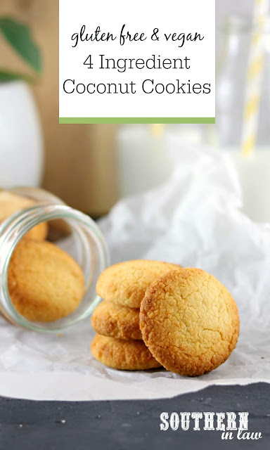 4 Ingredient Coconut Cookies Recipe - gluten free, vegan, paleo, sugar free, healthy dessert recipes