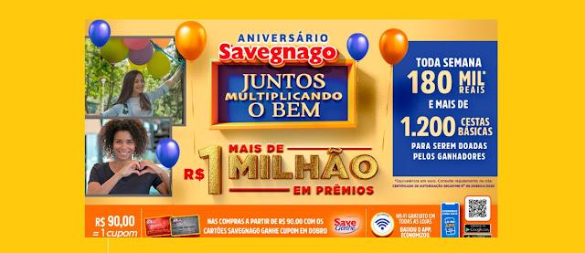 Cadastrar Promoção Aniversário 2020 Savegnago 1 Milhão Prêmios - Juntos Multiplicando Bem