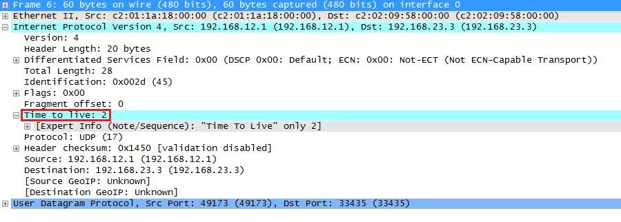 Wireshark التقاط traceroute UDP Probe TTL Two