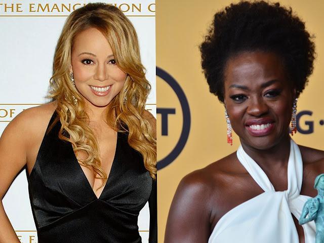 Imagen de mariah carey (mujer negra de piel clara)  y viola davis (mujer negra de piel oscura).