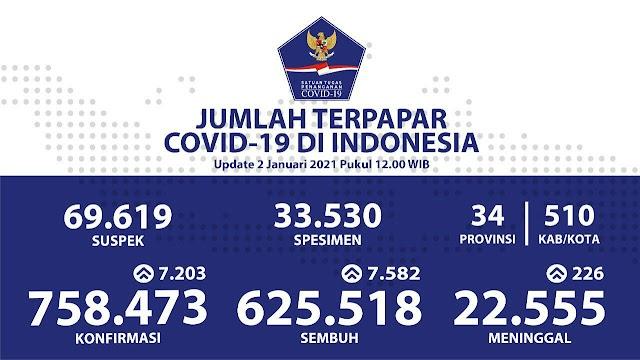 (2 Januari 2021) Jumlah Kasus Covid-19 di Indonesia