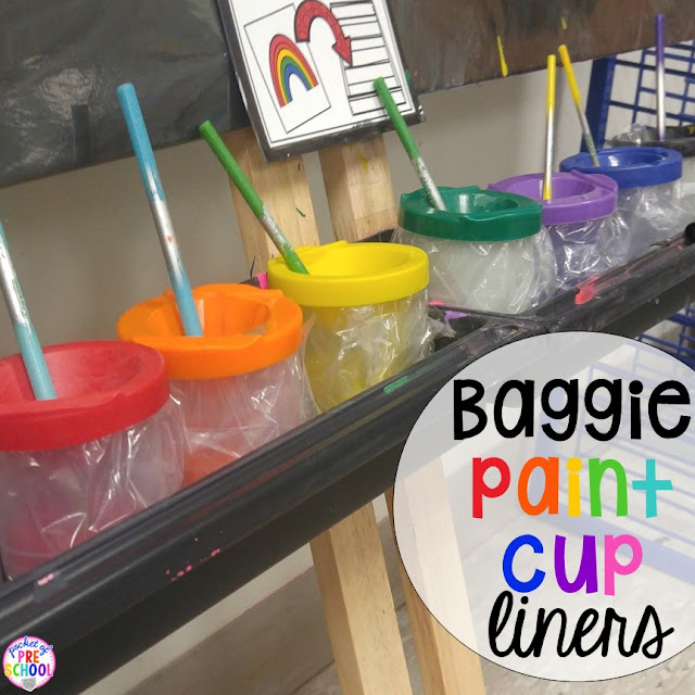 Paint cups lined with plastic bags make cleaning up after art class much easier.