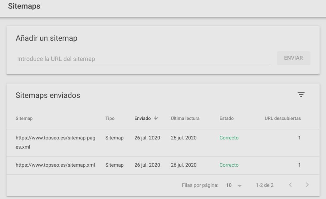 Poner el sitemap de páginas y el sitemap de entradas en SEarch Consoles de Google