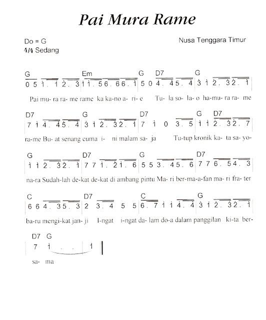 Not Angka Pianika Lagu Pai Mura Rame-Rame (Nusa Tenggara Timur)